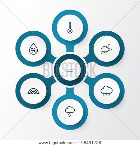 Air Outline Icons Set. Collection Of Wind, Rainstorm, Temperature And Other Elements stock photo