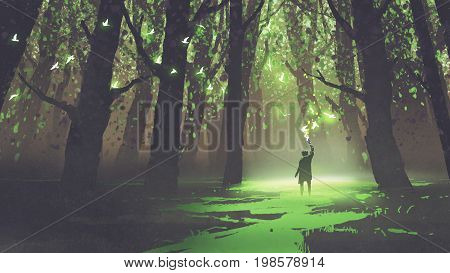 fantasy scene of alone man with torch standing in fairy tale forest, digital art style, illustration painting stock photo