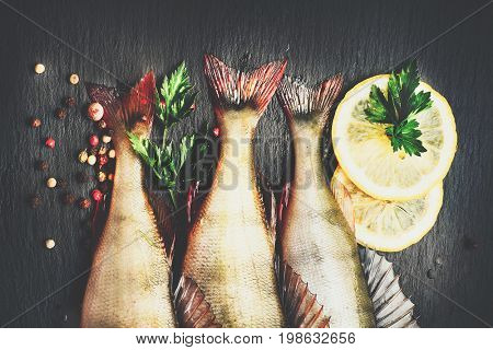 Fresh fish with aromatic herbs, spices, salt. Raw perch fish on slate tray dark vintage background,