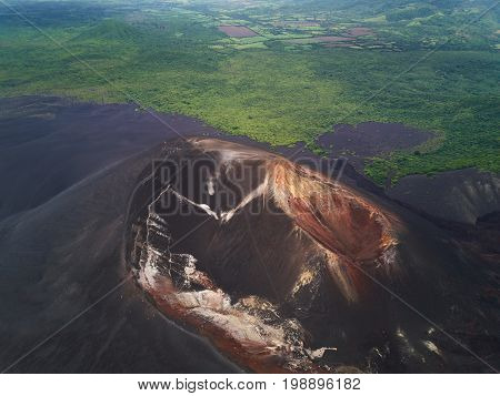 Above view on Cerro negro volcano. Active volcano in Nicaragua Leon