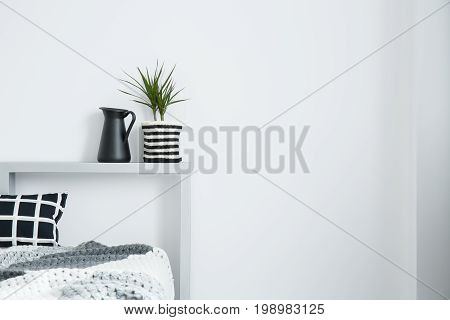 Black milk jug next to plant in striped material pot on bolster of king-size bed with checkered pillow stock photo