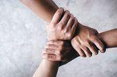 Hands Together  Showing Teamwork.