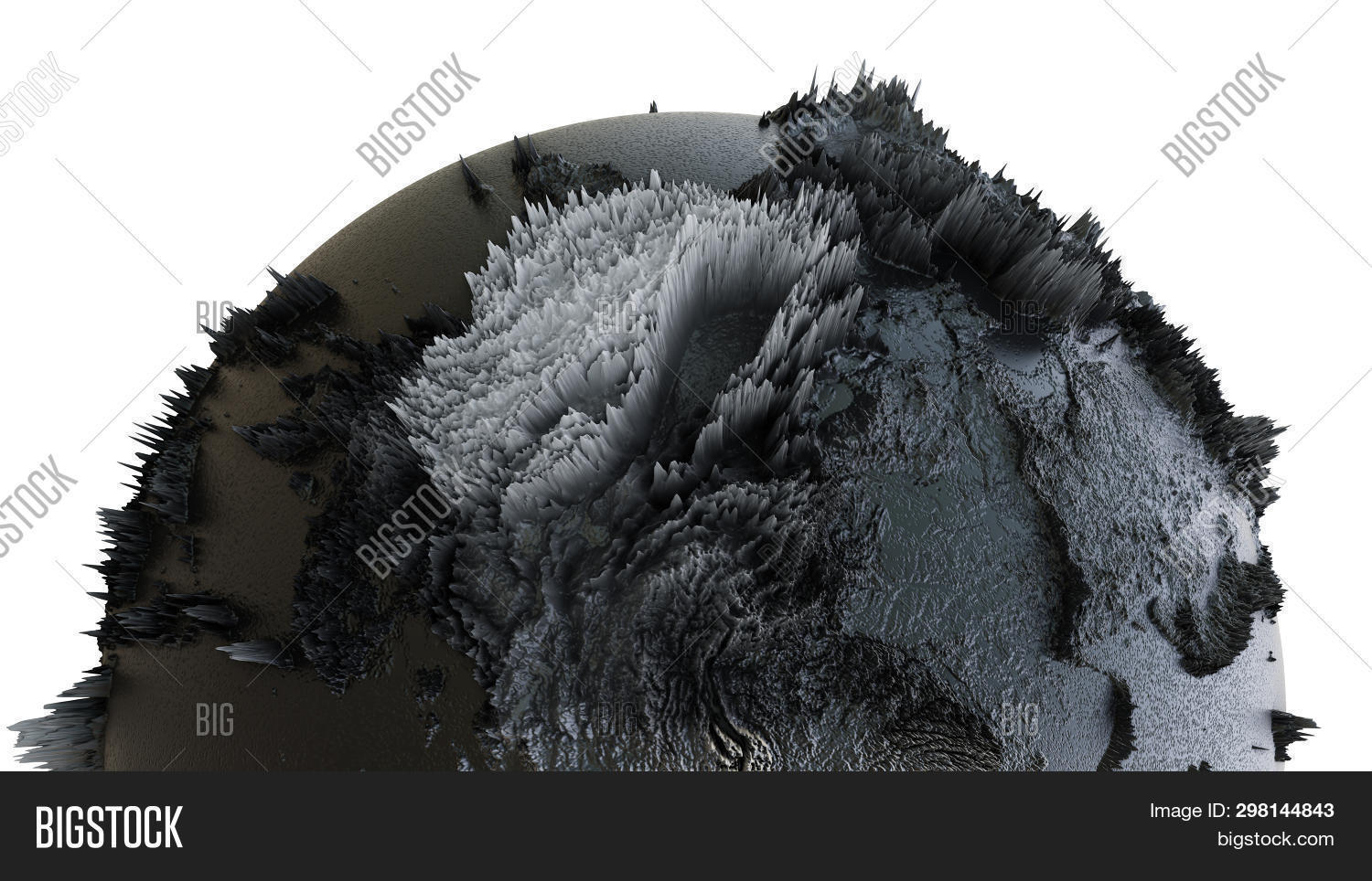 Abstract Black Earth Globe, Continets Extruded Or Displacement. 3d Illustration