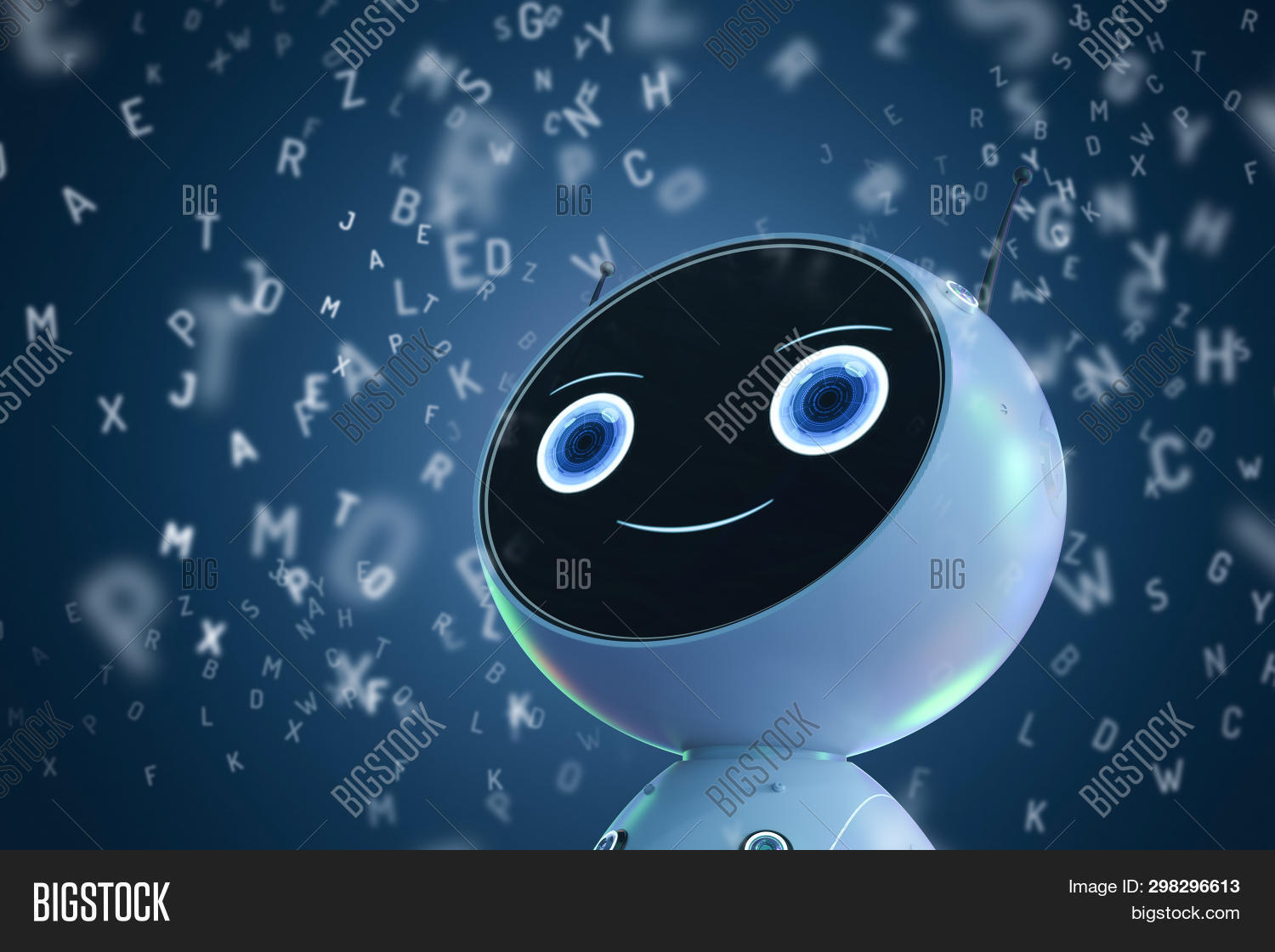 Machine Learning Concept With 3d Rendering Robot Learning Or Machine Learning With Alphabets