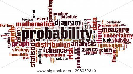 Probability word cloud concept. Collage made of words about probability. Vector illustration stock photo
