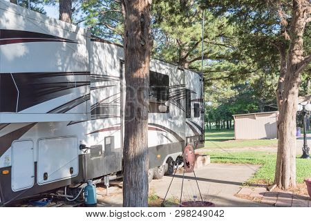 Recreational vehicles RV and camper park near Dallas, Texas stock photo
