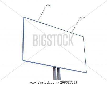 Billboard isolated on white background. Mock up for your advertising or announcements stock photo