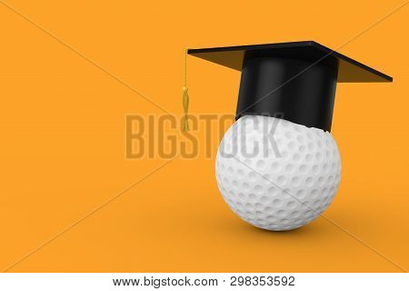 Graduation Academic Cap over White Golf Ball on a yellow background. 3d Rendering stock photo