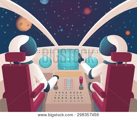 Pilots in spaceship. Shuttle cockpit with pilots in costumes vector cartoon space with planets. Illustration of rocket space cockpit interior with astronauts stock photo