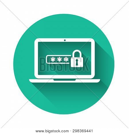 White Laptop with password notification and lock icon isolated with long shadow. Concept of security, personal access, user authorization, login form. Green circle button. Vector Illustration stock photo
