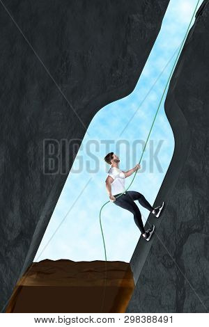 Man frees himself from alcohol addiction. A man climbs on a rope from an almost empty liquor bottle. The background is dark. The man climbs to the light. 3D Illustration stock photo