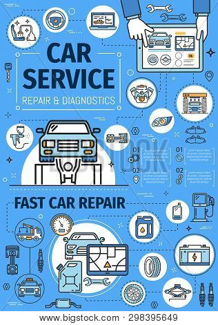 Auto diagnostic and repair service center. Vector thin line poster, transport tow truck, tire fitting and oil change service station, automobile washing and engine restoration garage stock photo