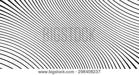 Wave monochrome background. Simple linear halftone  texture. Vector black & white background. Abstract dynamical rippled surface. Visual  3D effect. Illusion of movement. stock photo