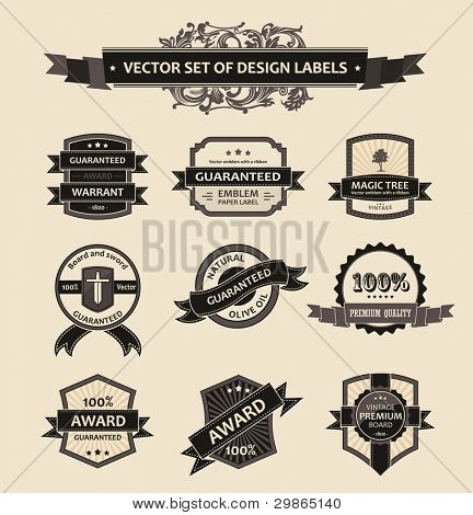 Vector set vintage ornate decor elements. ornaments ribbon black labels. illustration stock photo