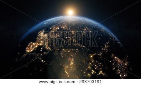 Planet Earth From Space. Beautiful Sunrise World Skyline. Illustration Contains Space, Planet, Galax