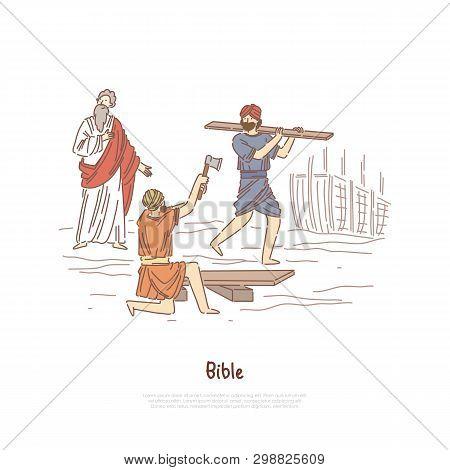 Noah building ark myth, legend, Bible story plot, saint biblical characters, people constructing ship banner template. Great flood narrative concept cartoon sketch. Flat vector illustration stock photo
