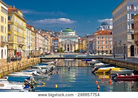 Trieste channel and Ponte Rosso square view, city in Friuli Venezia Giulia region of Italy stock photo