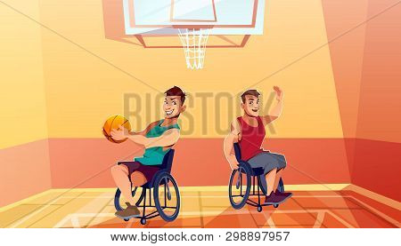 Two disabled man on wheelchairs playing basketball cartoon . Physical activity, rehabilitation for people with physical disabilities or musculoskeletal system diseases. Adaptive wheelchair sport stock photo