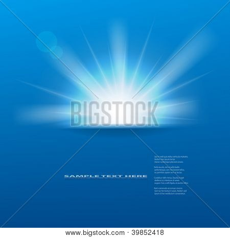 Vector sun on blue background with copy space.