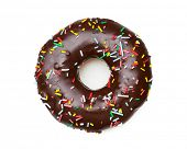 heavenly chocolate doughnut, confined on white