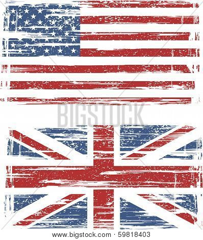 British and American grunge flags.