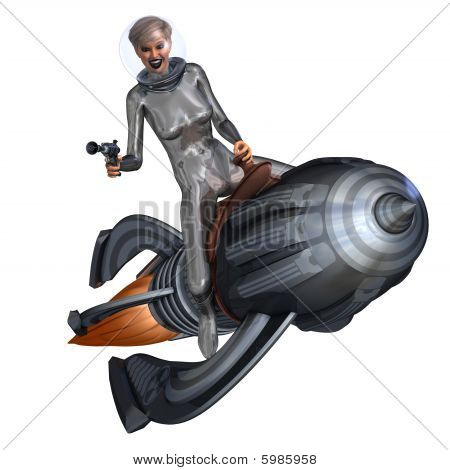 3D rendering of a silver pin-up girl riding on a retro rocket with clipping path and shadow over white stock photo