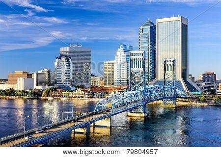 Jacksonville, Florida, USA downtown city skyline on St. Johns River. stock photo