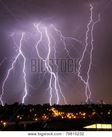 Storm with lightning strikes over Melbourne city skyline stock photo