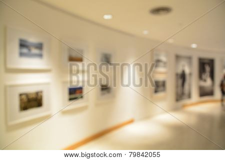 Blurred or defocus of Art Gallery or Museum Background stock photo