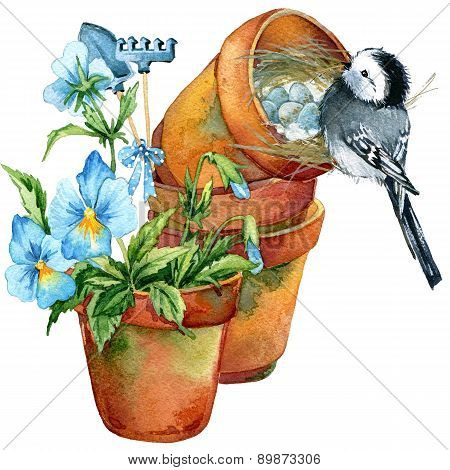 bird and spring flowers. watercolor