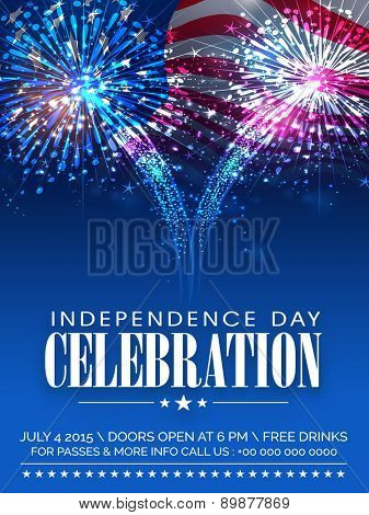 American Independence Day celebration beautiful invitation card with shiny fireworks on waving natio
