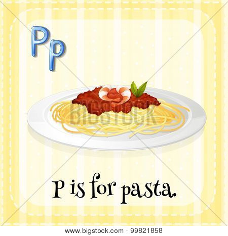 Alphabet P is for pasta illustration stock photo