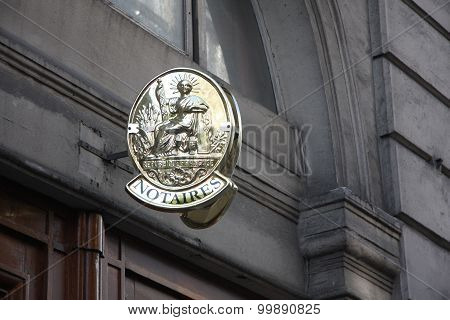 A court bailiff board in Paris, France stock photo