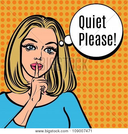 Girl says Quiet Please! Vector retro woman with silence sign pop art comics style illustration. Girl asking for silence putting her forefinger to her lips for quiet silence stock photo