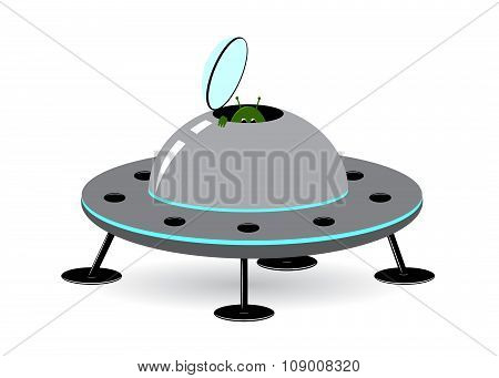 icon spaceship. The alien by the spaceship stock photo