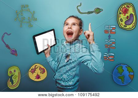 teenage girl raised her thumb up holding a plate and shouts opened her mouth joy icon set Education biology of the parasite cell embryo formation stock photo