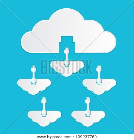 Vector illustration of cloud computing service concept private cloud to public colud paper cut style with shadows on bright blue background. stock photo