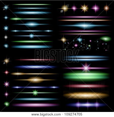 sparkle collection with a lot of different shapes: circolar lightning , point of lights, sparkle bars, cross sparkles. ready to copy and past on whatever background stock photo