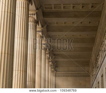 Vintage Columns Architecture Of Ancient Greek Temple stock photo