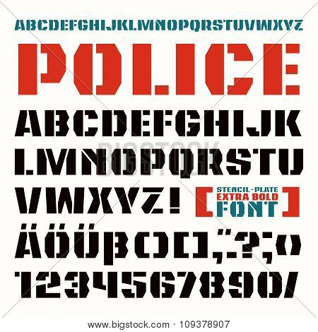 Stencil-plate sanserif font in military style. Extra bold face stock photo