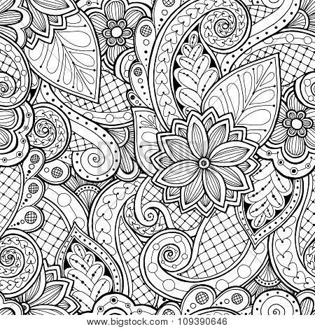 Seamless Background In Vector With Doodles Flowers And Paisley