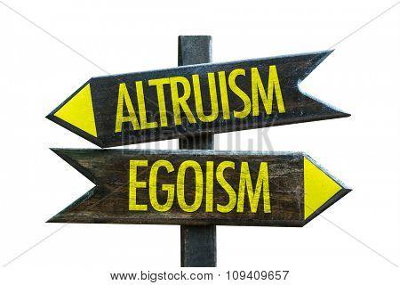 Altruism - Egoism signpost isolated on white background stock photo