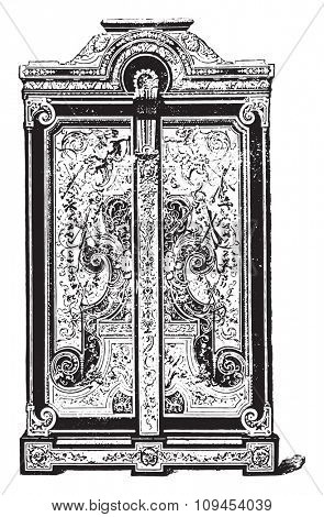 Armorial ebony marquetry, executed by Boule, vintage engraved illustration. Industrial encyclopedia E.-O. Lami - 1875. stock photo