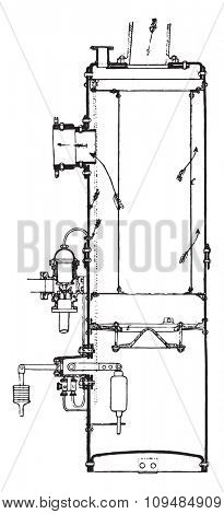 Separator and steam trap, Belleville system. View and cut, vintage engraved illustration. Industrial encyclopedia E.-O. Lami - 1875. stock photo