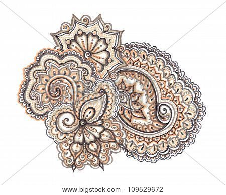 Indian ornamental lacework in natural colors, isolated stock photo