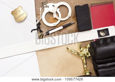 A police officer recommended martial arts classes. stock photo
