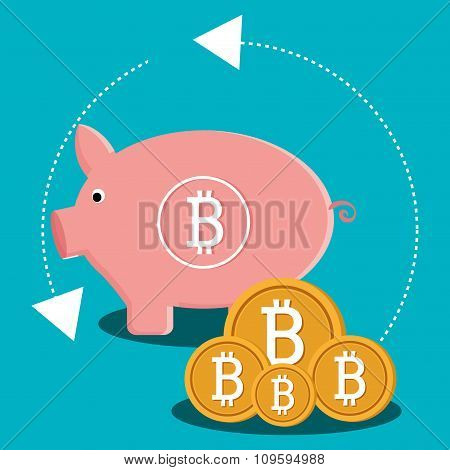 Bitcoin virtual money graphic icons design, vector illustration eps10 stock photo