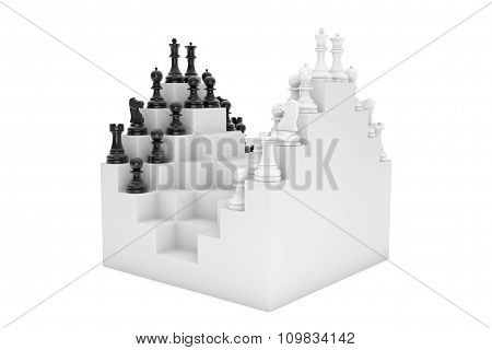 Abstract Chessboard and Set of Chess Pieces on a white background stock photo