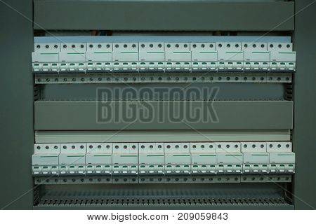 View of automatic circuit breakers in distribution board, closeup stock photo