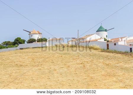 Old Windmill in Vila do Bispo Algarve Portugal stock photo